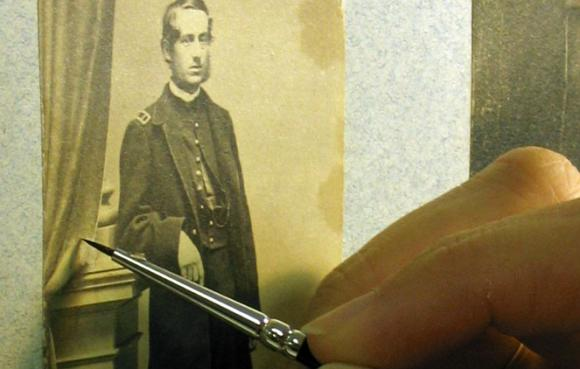 Inpainting George Meade album close up